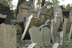 The Old Jewish Cemetary in Josefov in Prague